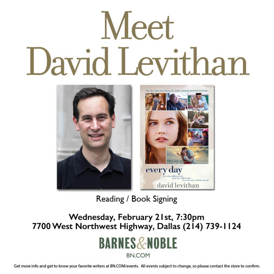 Join us to meet David Levithan, author Every Day which is about to release as a major new film @_EveryDayMovie!  Info: goo.gl/9fX4pW   #EveryDayMovie @randomhouse  @BNBuzz @BNTeens