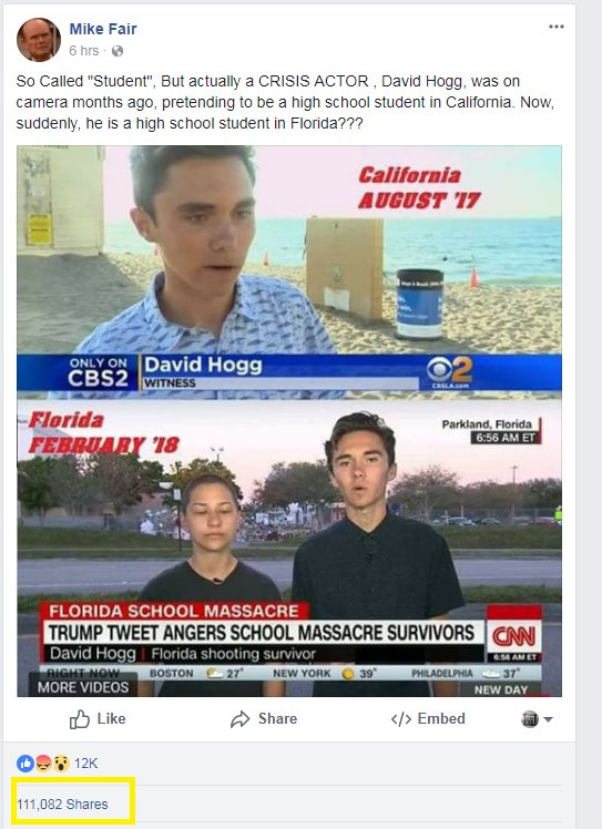 This is how absurd, gaslighting 'crisis actor' theories go viral.  One  post from this person has 111,000+ shares. Another has 23,000.  This is one person, two posts.  Imagine the millions and millions of people crackpot theories like this are reaching and influencing.
