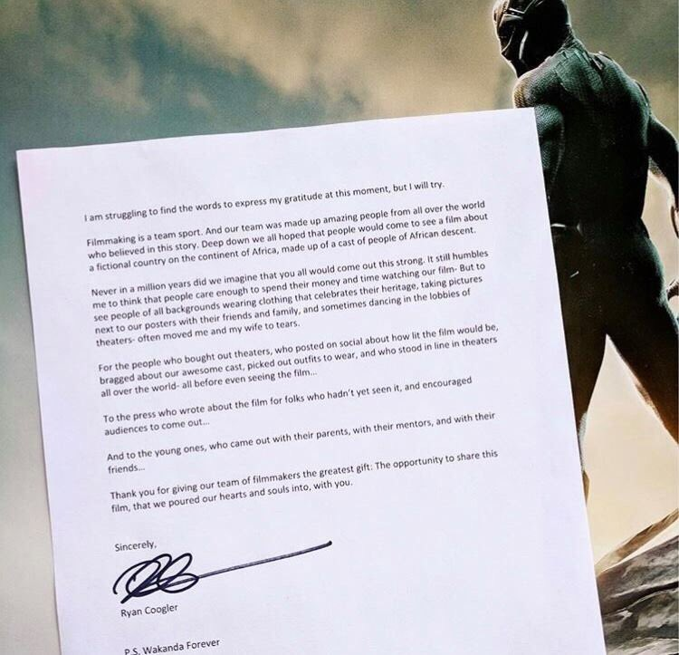A heartfelt message from Ryan Coogler to...