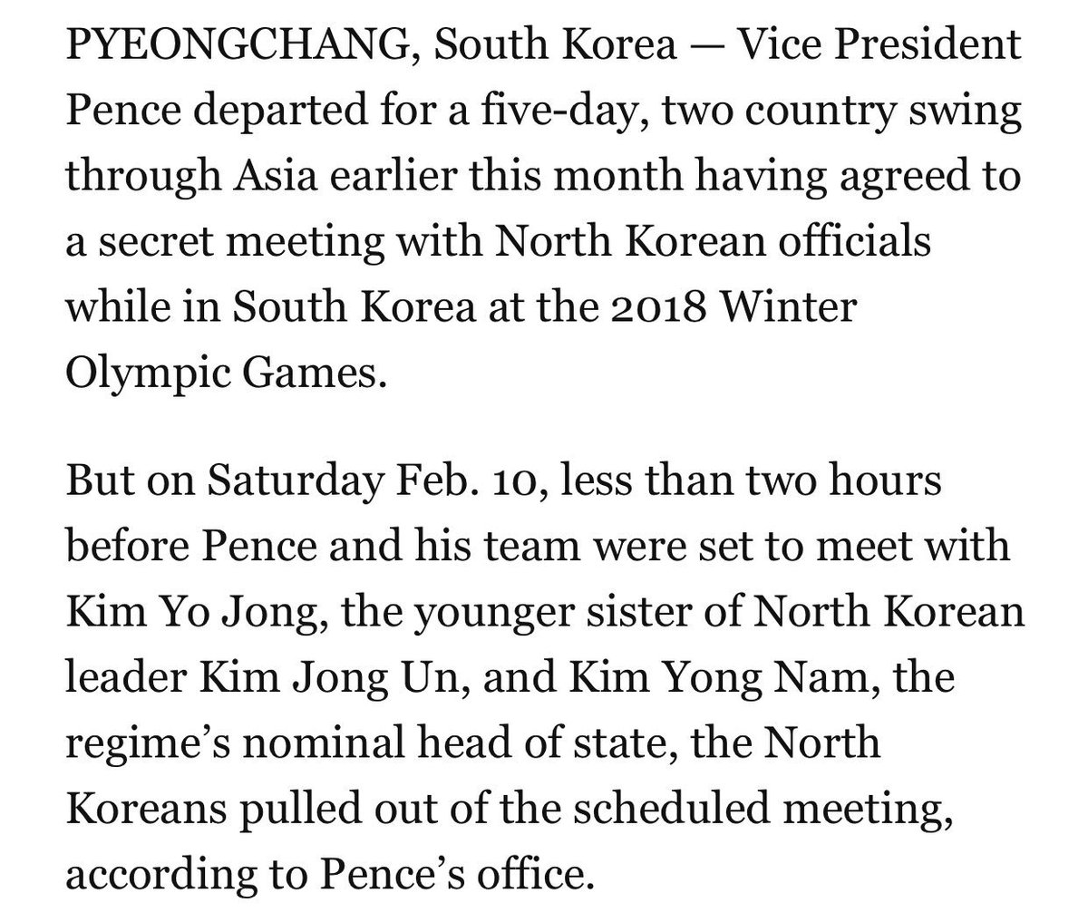 When Pence left for the Olympics earlier this month, he planned to take in the games — and hold a secret meeting with the North Koreans. My story: https://t.co/z3pGbBGm4f