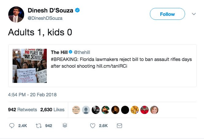 Friendly reminder that most of the Parkland students will be able to vote in the 2020 election and Dinesh DSouza will not because he is a convicted felon.