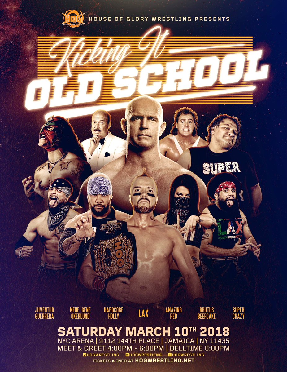 ⚠️Grab your streamers and fanny packs, were Kicking it Old School!  Saturday March 10th LIVE @ NYC Arena Meet & Greet 4pm Belltime 6pm  Limited tickets left @ HOGwrestling.net  You never know who may show up at #KIOS, you will regret missing this event!