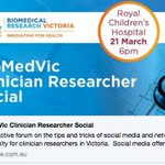 Clinician researchers: this one's just for you. Get your trials, publications & conferences on social. @VCRN_BioMedVic social media forum Wed 21 March @RCHMelbourne: hear from Michelle Gallaher @thesocialsci, @DanchinMargie @FZMarques @KidneyCathy. Free! https://t.co/r7VyRlh7j8