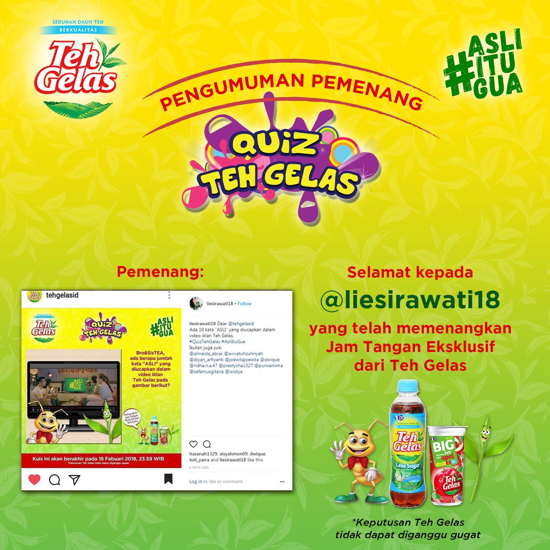 Teh Gelas On Twitter Selamat Liesirawati18 Ig Pemenang
