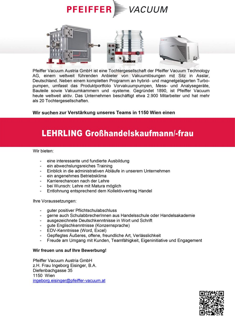 Neues Stellenangebot Unsere Tochtergesellschaft Pfeiffer Vacuum Austria GmbH In Wien Sucht Verstarkung
