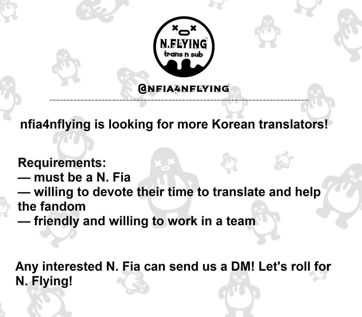 [📣] nfia4nflying is looking for Korean-E...
