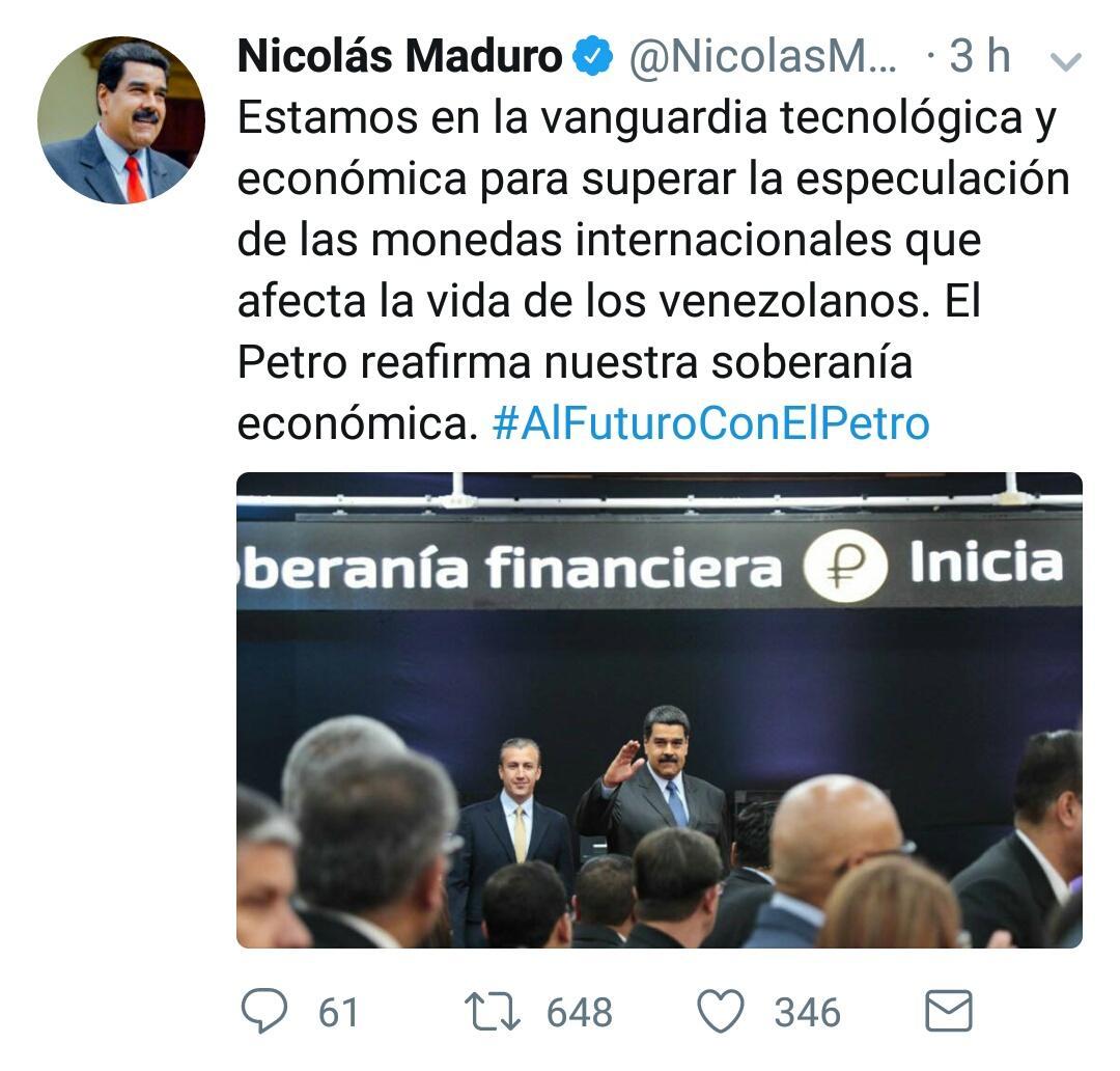 Avec le Petro, nouvelle monnaie virtuelle basée sur les réserves de pétrole du #Venezuela, les autorités disent vouloir lutter contre le blocus financier des Etats-Unis.franceculture.fr/emissions/jour…