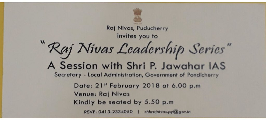 Today at RajNivas part of Leadership Series with P Jawahar, IAS,  Secretary Local Administration Of Govt of Puducherry.  Addressing officers on the subject of Smart City. The concept & unique leadership challenges, qualities required to sustain &  lead to make/keep the city Smart