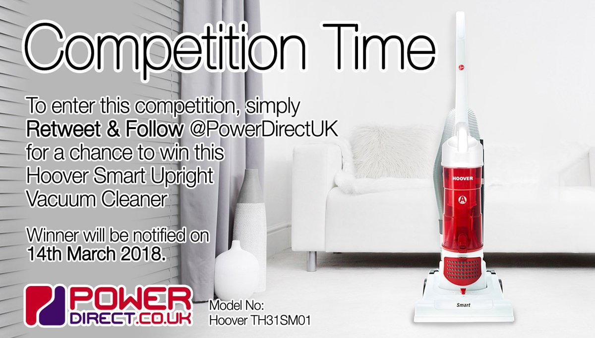 #WinitWednesday! Enter our #Free #Competition #Giveaway for a Chance to #Win a Hoover Smart Bagless Upright Vacuum Cleaner. Simply #RT & #Follow @PowerDirectUK