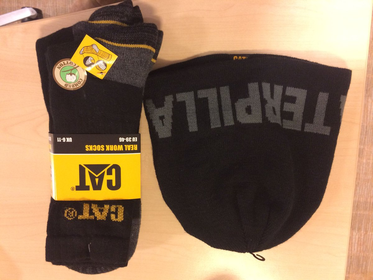 All you have to do is RT & follow for this weeks #WinItWednesday for a chance to win some @CaterpillarInc socks and a beanie! Get retweeting!!