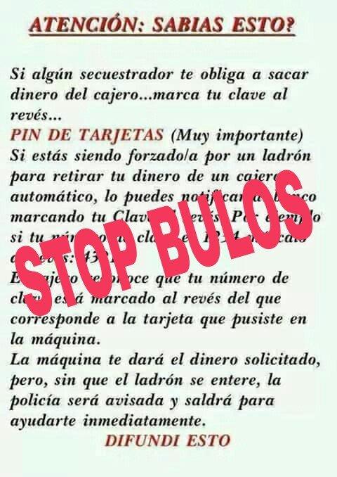 ¡Circula de nuevo y sigue siendo #BULO! Si en un cajero metes tu PIN al revés, no sabemos qué pasará😨... pero a nosotros seguro que NO nos avisará.