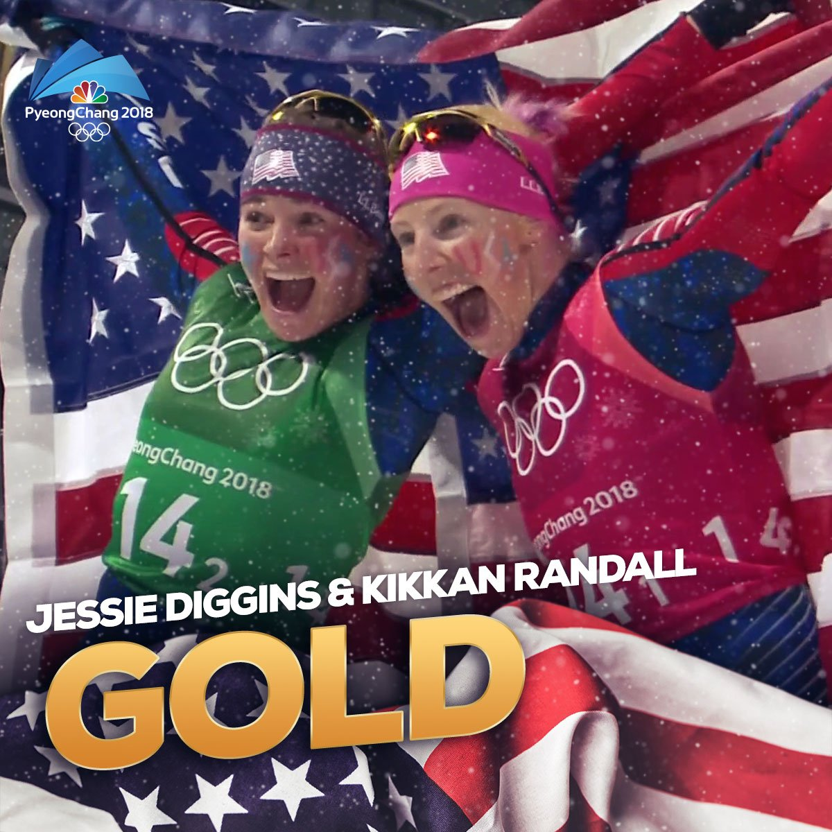 HISTORY MADE!   @jessdiggs and @kikkanimal are the first American cross-country skiers to capture a #gold medal after winning the women's team sprint! #WinterOlympics