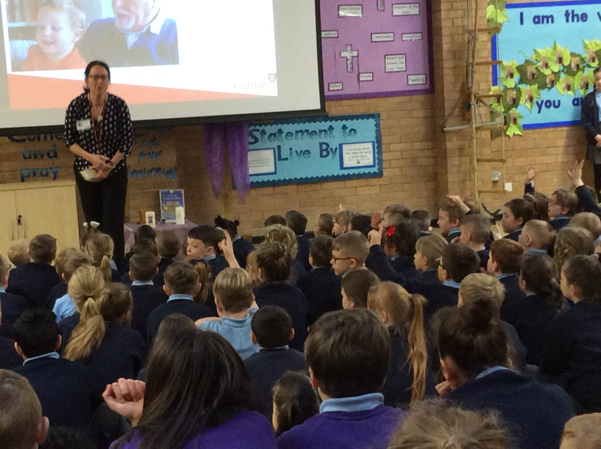 Caritas came to school this morning to help us understand the work they do in the community.