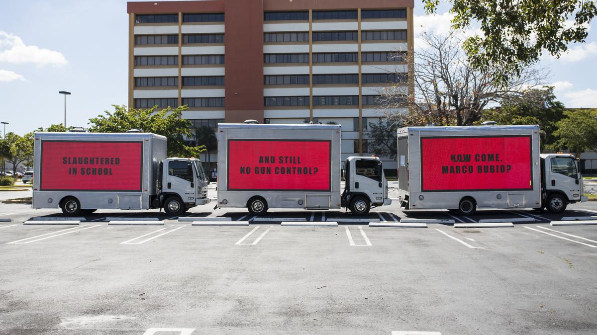In the past week, Justice4Grenfell & Avaaz each borrowed from 'Three Billboards Outside Ebbing, Missouri', driving red billboards across London & Miami to question why nothing is being done in the face of the Grenfell fire, and the school shooting that killed 17 people. ✊✊✊✊