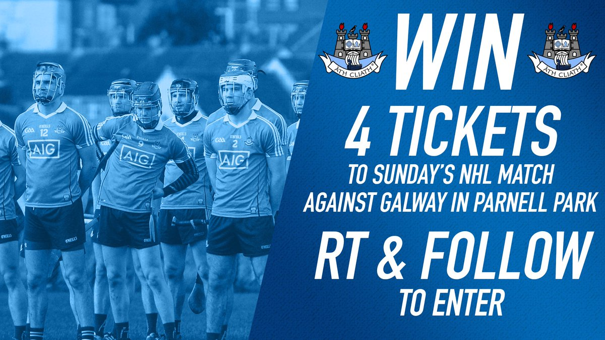 test Twitter Media - RT & Follow for your chance to win 4 tickets to the Dublin Senior Hurlers' NHL match against @Galway_GAA this Sunday at home in Parnell Park! ✌️  #UpTheDubs https://t.co/yMsg4eibFK