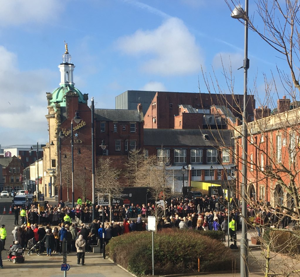 Crowds getting ready for Will & Kate! #Royalvisit #sunderland