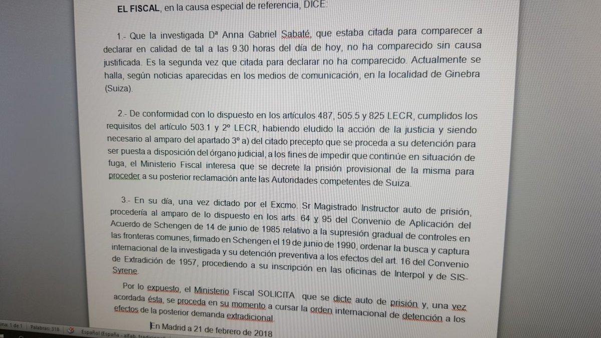 ÚLTIMA HORA: La Fiscalía pide al Supremo el ingreso en prisión de Anna Gabriel https://t.co/kB93ug57VK