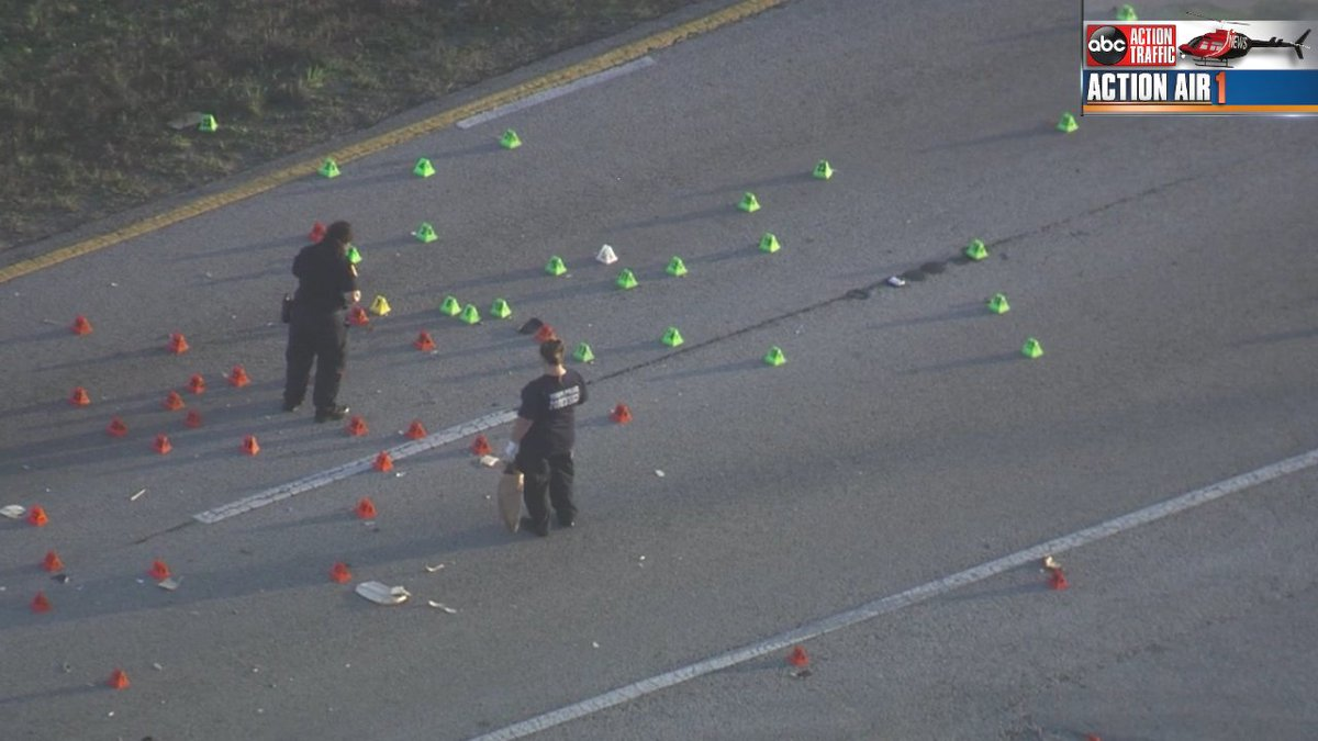 WOW. You're looking at evidence markers at the deadly hit and run on Adamo Drive. EB lanes closed between 50th and Orient. Use the Selmon or Broadway. TPD investigating.