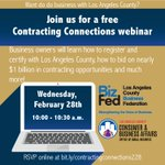 Would your business like to expand its horizons by getting certified to do business with the County of Los Angeles. Check out this free webinar. https://t.co/vgD7jMhjeg