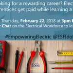 NECA will join @ESFIdotorg in an upcoming Twitter chat to raise awareness of job opportunities in the electrical industry. Join the discussion February 22 at 3 pm EST. #EmpoweringElectric