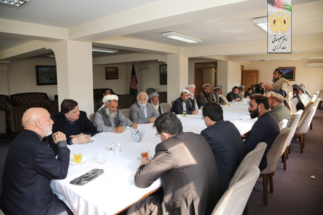 Former President @KarzaiH met with a group of elders from #Shinwari district of #Nangarhar, in his office on Wednesday.   The elders highlighted their problems and asked for scholarships. The former President assured them of providing all forms of support as possible. #Karzai