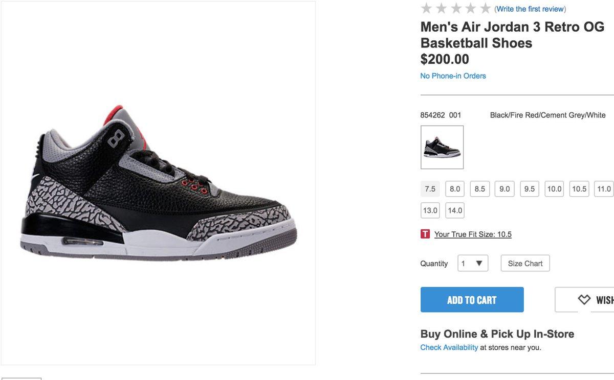RESTOCK Air Jordan 3  Black Cement     http   bit.ly 2EJyKDh  pic.twitter.com xH8rep51Ns cecace666