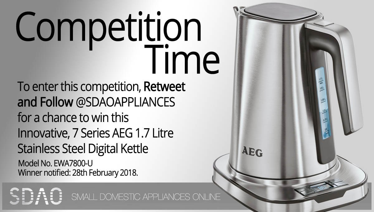Its #WinItWednesday so why not enter our #Free #Competition #Giveaway to #Win a AEG 1.7 Litre Digital Kettle... Simply #RT & #Follow @SDAOAPPLIANCES.