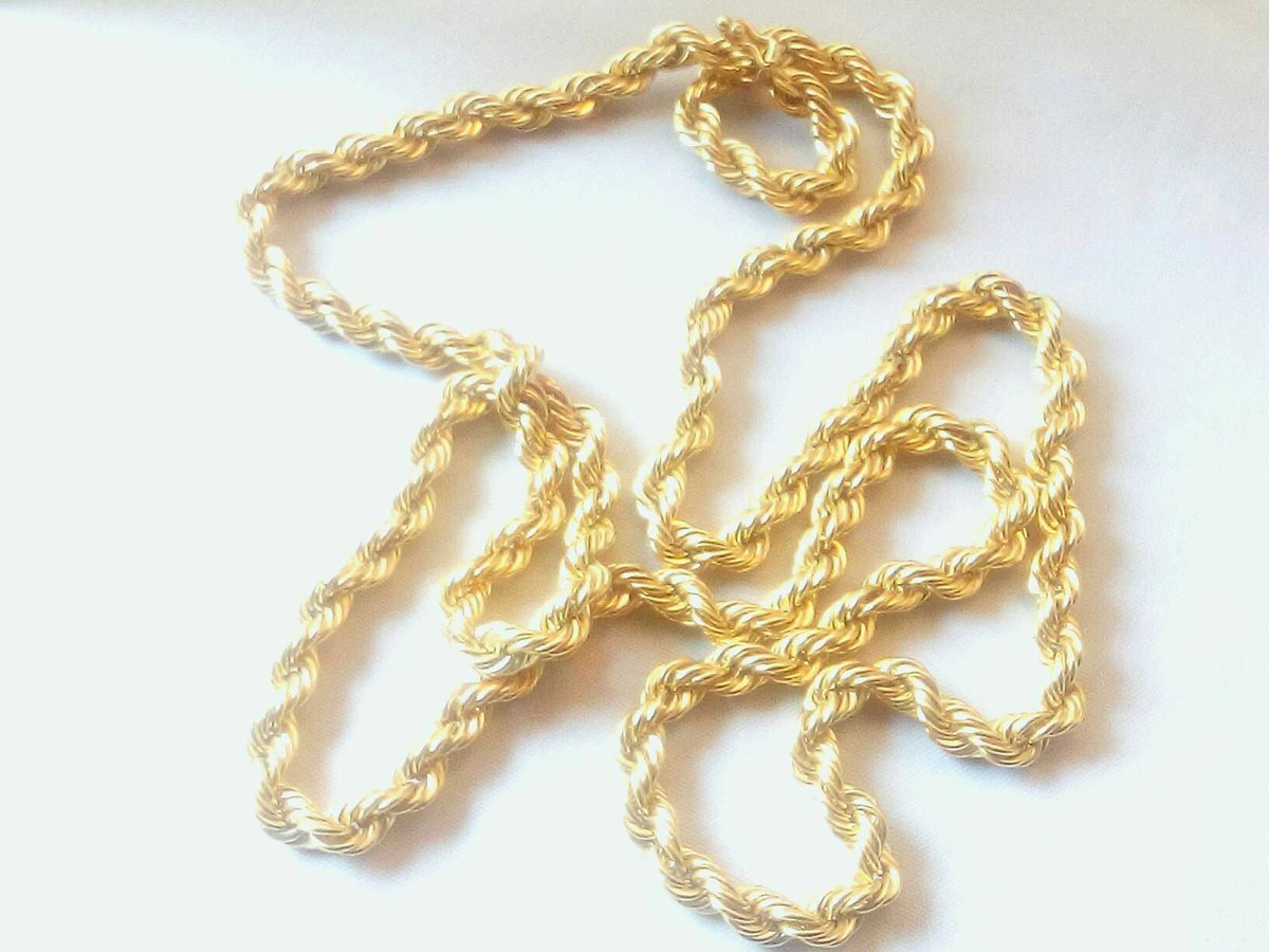 Vintage 14k Yellow Gold Twisted Link Rop...