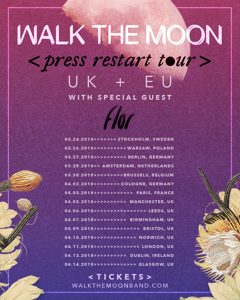 europe & uk, we are finally coming over 🌿 well be joining @walkthemoonband starting next month. tix on sale now at walkthemoonband.com