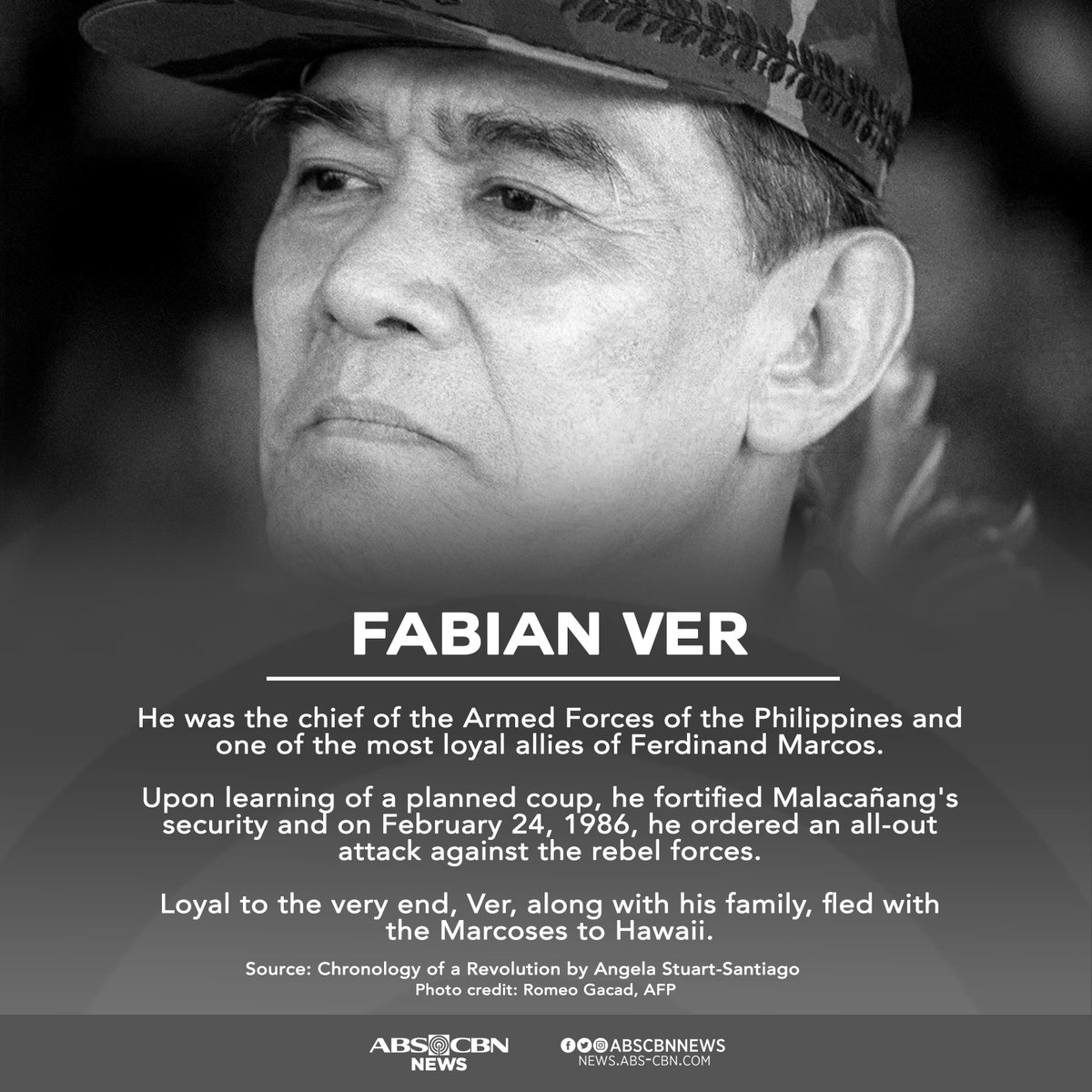 EDSA Key Players: Ver fled to Hawaii with the Marcoses. He remained loyal to his commander-in-chief up to the very end. #EDSA32  More here: https://t.co/2e0VaiT3d2