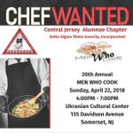 CHEFS WANTED!!!! The 20th Annual Men Who Cook is Sunday, April 22nd at the Ukrainian Cultural Center in Somerset, NJ. If you are a man who cooks or you know one, register today! - https://t.co/V0awowdFZH   #CJADeltas #TheEast #DST1913 #MenWhoCook