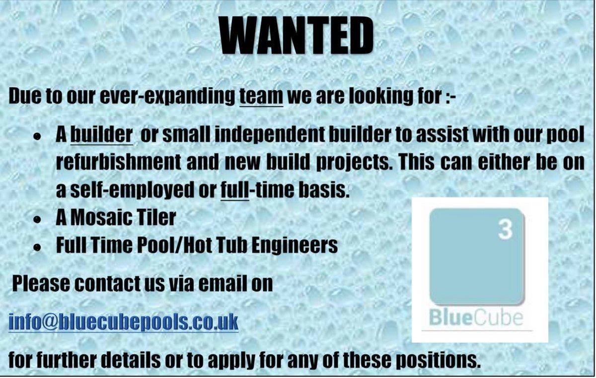 We are still hiring! Just send us a message for more details or send us your CV info@bluecubepools.co.uk #northamptonshire #bedfordshire #cambridgeshire #london #kent #leicestershire #swimmingpoolengineer #builder #smallbuilder #jobsavailable #wearehiring #job #JobSeekers