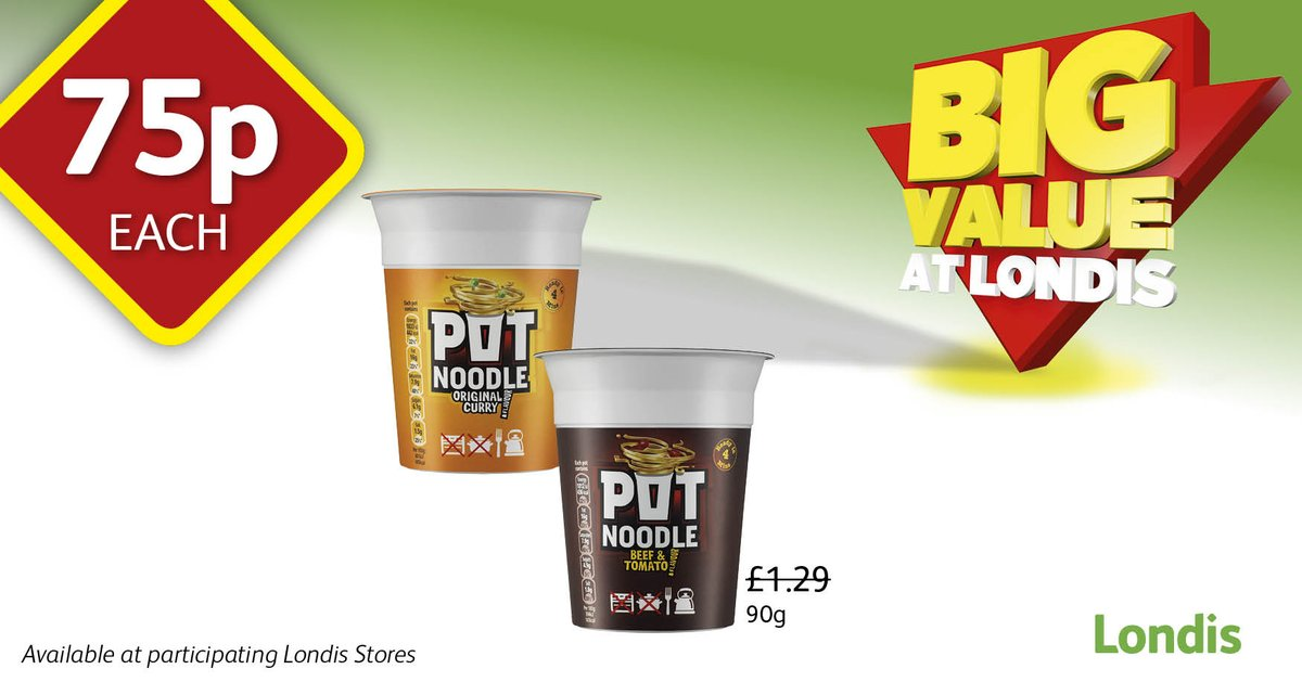 #BigValueAtLondis @PotNoodle only 75p at your local @myLondis   PLUS, visit our page for your chance to #WIN a Pot Noodle on the go POWER POT charger + a case of Chicken & Mushroom Pot Noodle! #YouCanMakeIt
