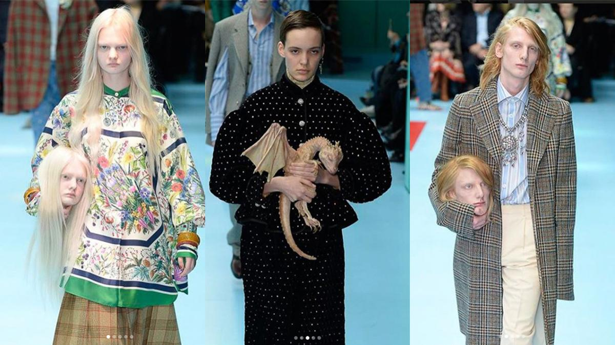 gucci models carried their own severed heads down the runway https://t.co/LH1ASzH5Wj