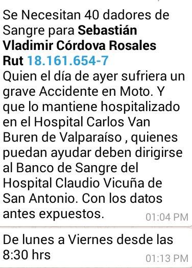 #Urgente se necesitan dadores de sangre,comuna de #SanAntonio via Christian Sepulveda