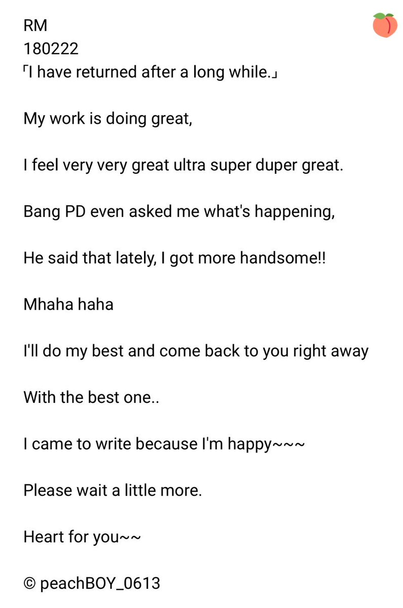 RM 180222 「I have returned after a long...