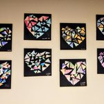 Image for the Tweet beginning: Watercolor mosaic hearts and was
