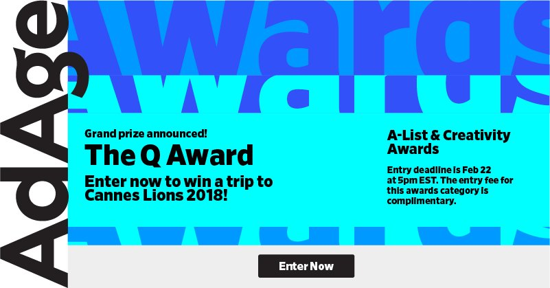 24 HOURS LEFT for you to enter The Q Award to win a trip to Cannes Lions! Apply here: https://t.co/ozfBmo1Dkb https://t.co/8a4oeyzG6Y