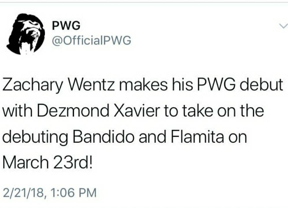 Congrats to the debut of @zachary_wentz teaming with @DezmondXavier at @OfficialPWG!