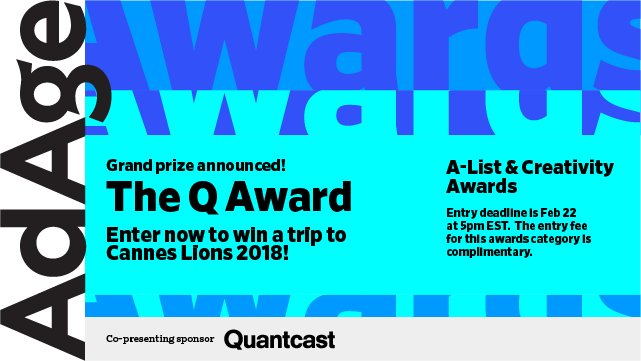 Enter The Q Award to win a trip to Cannes Lions 2018! Apply here >> https://t.co/RCaCg3JV6F << DEADLINE IS TOMORROW https://t.co/hk58bwhiW1