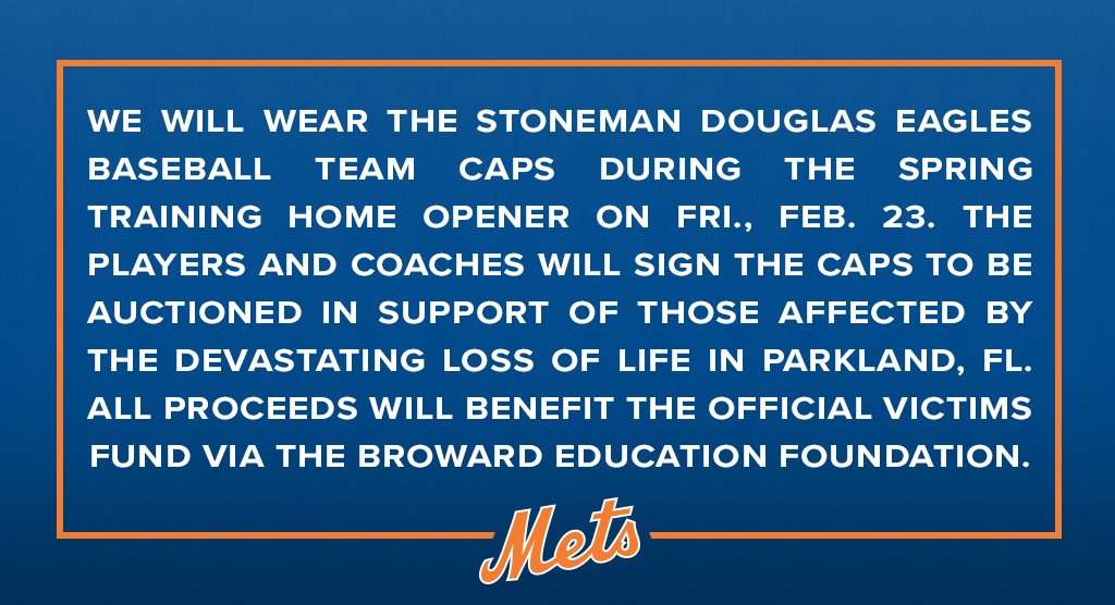 We will wear the caps of Marjory Stoneman Douglas High School on Friday to honor those in Parkland, FL. #ParklandStrong