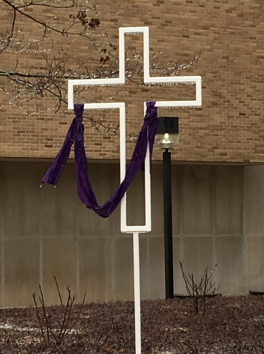 The almost gravity-defying wind-blown look on our Lenten cross is frozen in time by last nights ice.  #Lent
