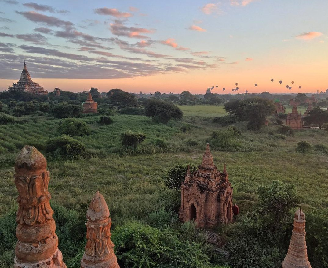 Travel Tip: Get away from the crowds -- sunrise in Bagan in Myanmar brings loads of travelers, but the smaller temples are less busy. #JourneyAnywhere #Myanmar #Bagan #travel
