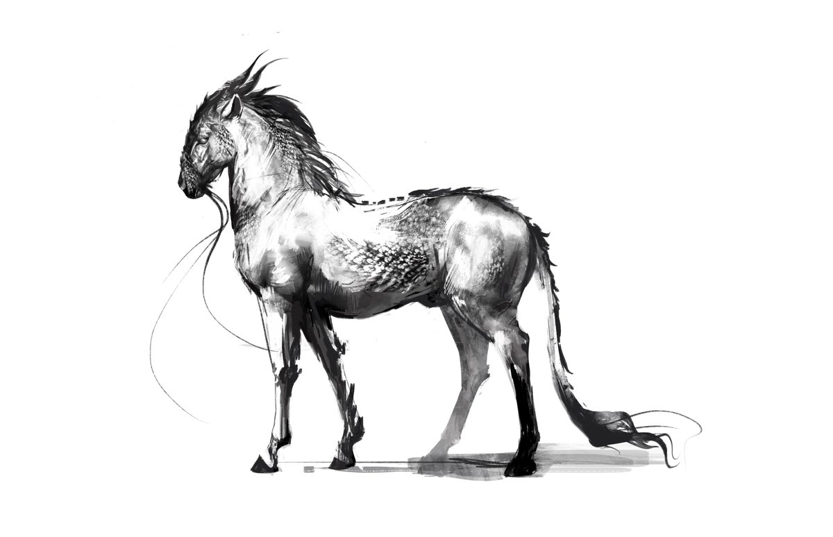 Magdalena Katanska On Twitter Some Mount Concept Sketches Inspired By The Chinese Qi Rin Conceptart Fantasy Horse Art