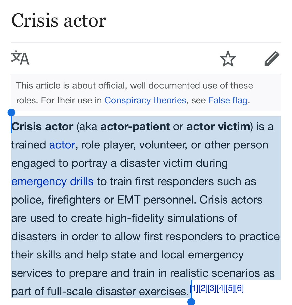"Dear conspiracy theorist.   Below is the original definition of ""crisis actor.""  It does not mean a paid participant in a massive murky political conspiracy that you can't explain in a coherent paragraph.  However, in the sense you use it, Alex Jones of Info Wars gets an Oscar!🙌"