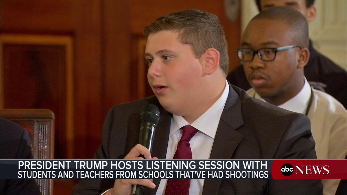 There needs to be a significant change in this country, because this has to never happen again. Parkland student Justin Gruber to Pres. Trump during White House listening session with those affected by last weeks deadly shooting at a Florida school: abcn.ws/2sNNhIC