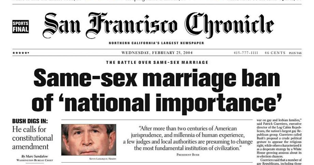 This was a battle that Bush lost. https://www.sfchronicle.com/news/article /Chronicle-Covers-The-Bush-push-for-a-same-sex-6850244.php  …pic.twitter.com/ ...