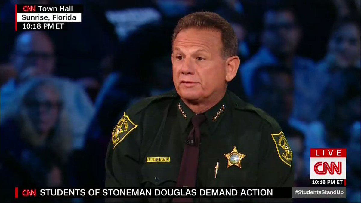 Broward County Sheriff Scott Israel at CNN town hall: 'I don't believe teachers should be armed. Teachers should teach... We have people in Washington, DC...telling teachers what they should do without asking teachers.'
