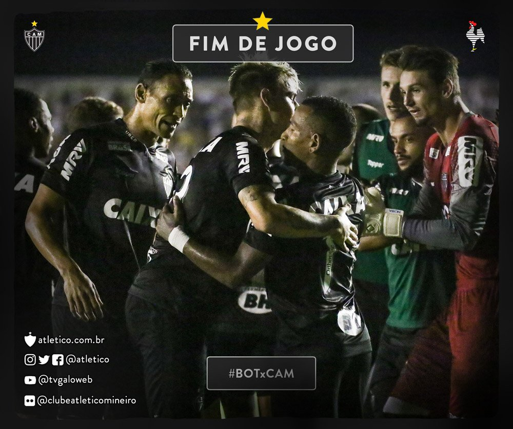 GALO TRAZ A CLASSIFICAÇÃO NA BAGAGEM!!! Fim de jogo na Paraíba! Atlético 4 x 0 Botafogo-PB! Gols marcados por Róger Guedes, Cazares, Ricardo Oliveira e Luan! Vamos, #Galo! #BOTxCAM