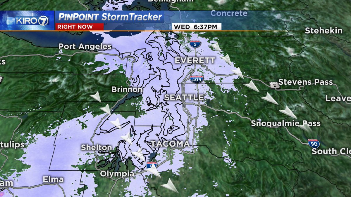 Snow falling in #Everett, #Seattle and #Tacoma.  Accumulations mainly less than an inch most areas in this view but roads will be a little slick!    Watch out! RADAR: https://t.co/JYMeqSjIat #wawx #wasnow